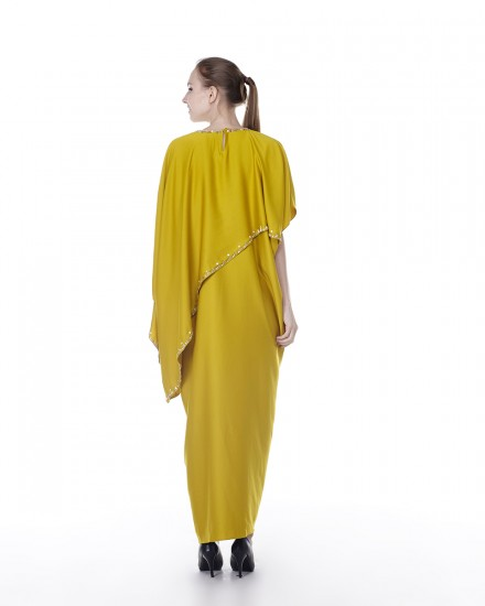 Eartha Signature Drape Kaftan in Chartreuse