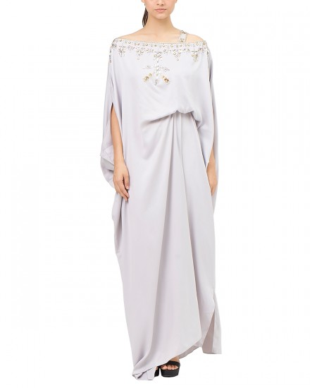 Xylia One Shoulder Signature Side Folded in Pearl Grey