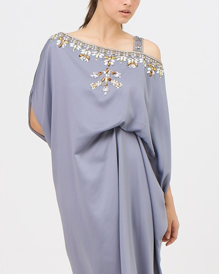 Xylia One Shoulder Signature Side Folded in Shimmer Grey