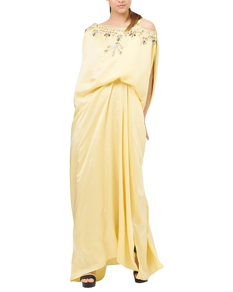 Xylia One Shoulder Signature Side Folded in Shimmer Yellow