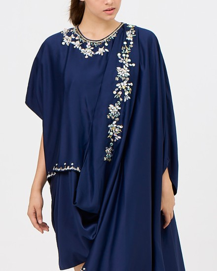 Eartha Mini Signature Drape Kaftan in Midnight Blue