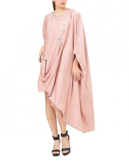 Eartha Mini Signature Drape Kaftan in Pink Delicate
