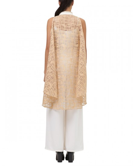 Ai Embroidery Lace Sleeveless Cheongsam Cropped Top in Pastel Nude