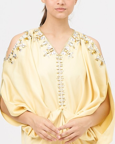Cassia Open Shoulder Signature Front Knot in Pastel Yellow