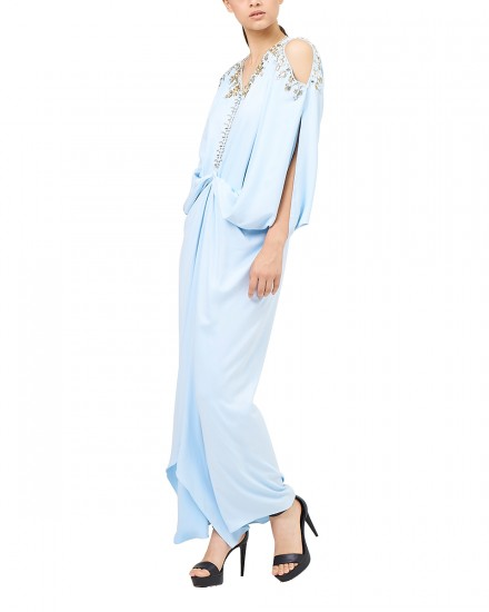 Cassia Open Shoulder Signature Front Knot in Airy Blue