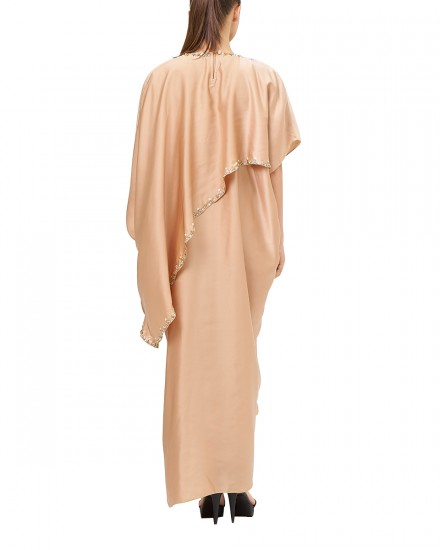 Eartha Signature Drape Kaftan in Shimmer Nude