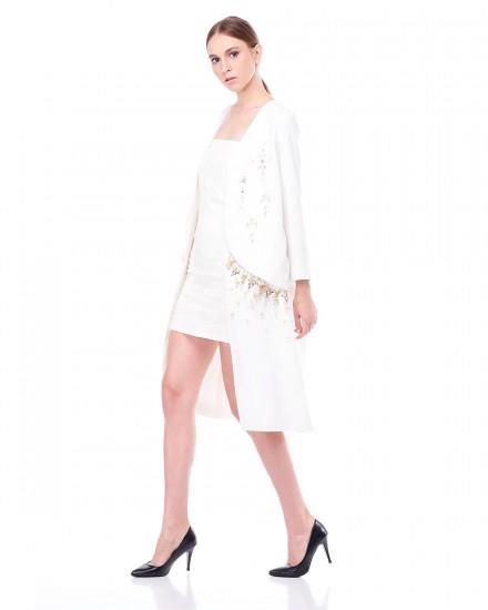 Noel Long Blazer in White