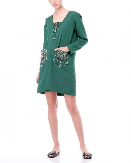 Ralphie Tailored Dress in Green