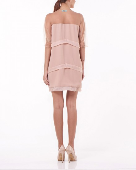 Mian Tulle Layered Outerwear in Nude