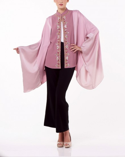Qing Cheongsam Blouse In Light Chateau Rose and Light Dusty Pink
