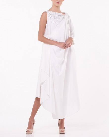 N9 Reversible Drape Dress in White