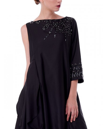 N9 Reversible Drape Dress in Black