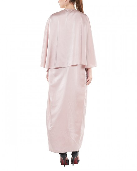 Sefa Draped Kaftan in Soft Pink
