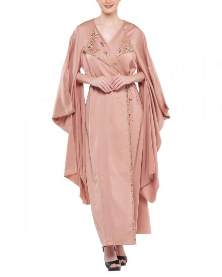 Avni Kimono Origami Kaftan in Delicate Pink