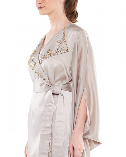 Avni Kimono Origami Kaftan in Pearl Grey