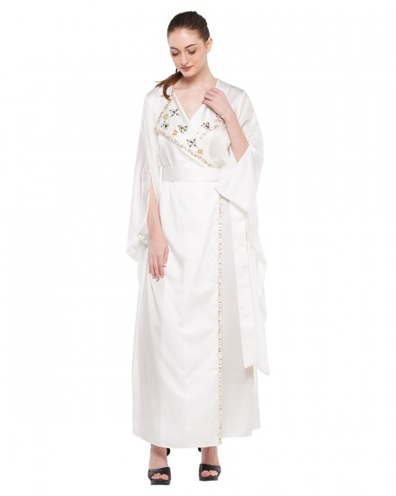 Avni Kimono Origami Kaftan in Purity White