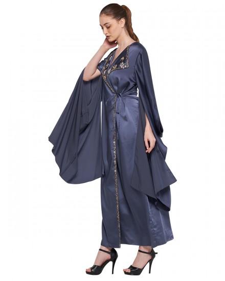Avni Kimono Origami Kaftan in Stormy Blue