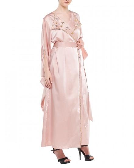 Avni Kimono Origami Kaftan in Shimmer Light Pink