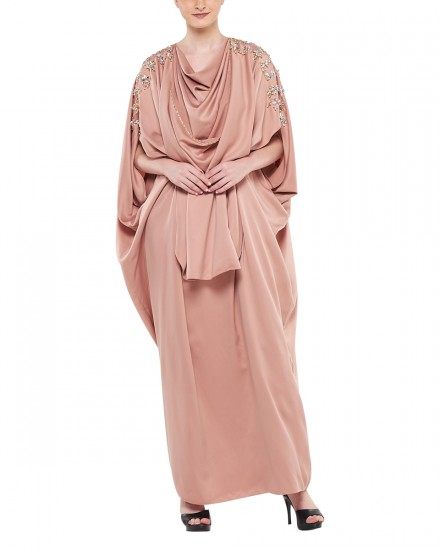 Sevim Draped Kaftan in Delicate Pink