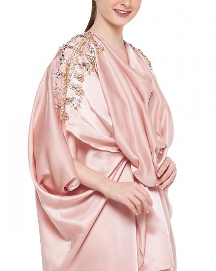 Sevim Draped Kaftan in Shimmer Light Pink