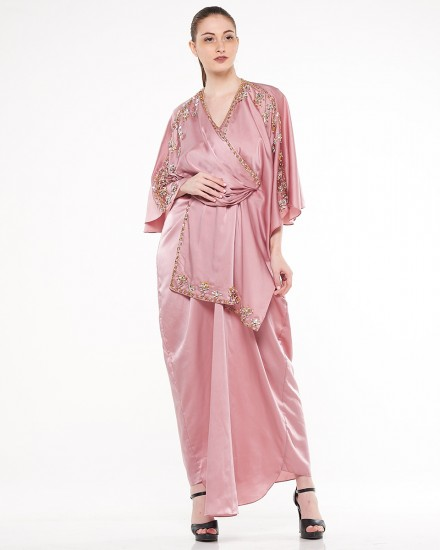Olesia Signature Wrap Kaftan in Dusty Pink