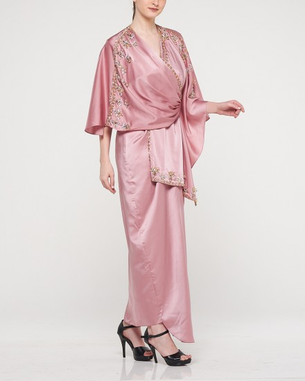 Olesia Signature Wrap Kaftan in Shimmer Pink