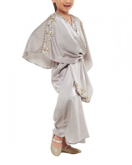 Olesia Petite Signature Wrap Kaftan in Shimmer Light Green