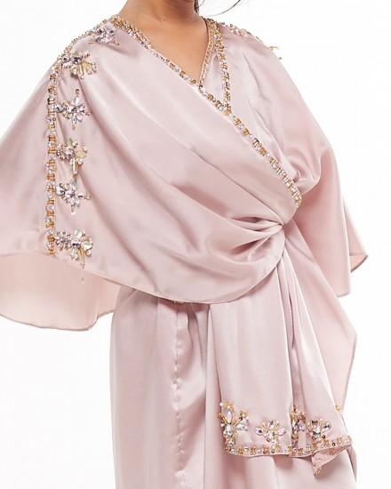 Olesia Petite Signature Wrap Kaftan in Soft Pink