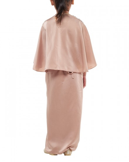 Olesia Petite Signature Wrap Kaftan in Warm Taupe