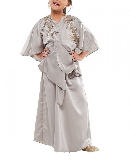 Sefa Petite Draped Kaftan In Shimmer Light Green