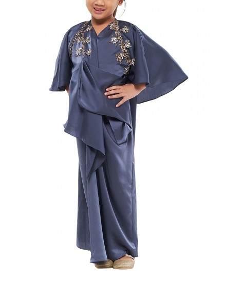 Sefa Petite Draped Kaftan In Stormy Blue