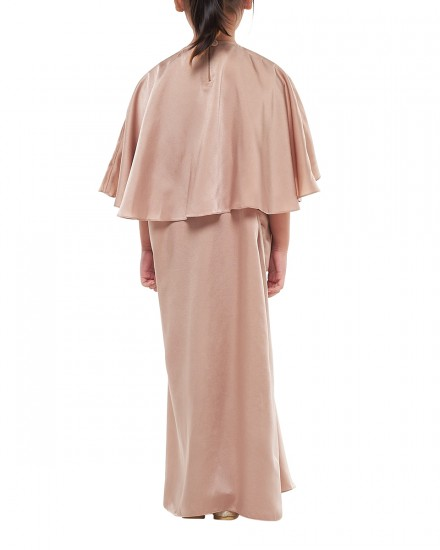 Sefa Petite Draped Kaftan In Warm Taupe