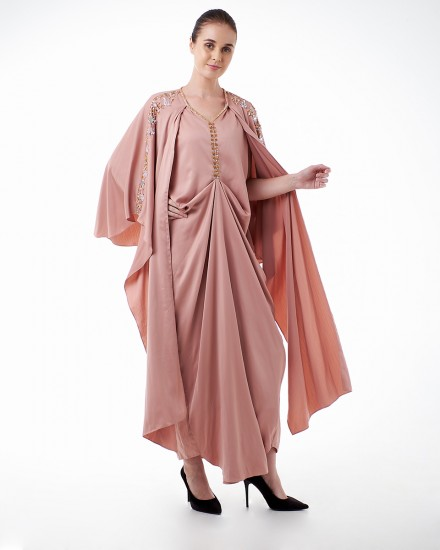Evren Three-way Wrap Kaftan in Delicate Pink
