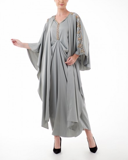 Evren Three-way Wrap Kaftan in Green Tint