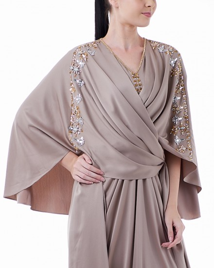 Evren Three-way Wrap Kaftan in Warm Grey
