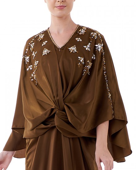 Havva Wrap Kaftan in Olive Brown