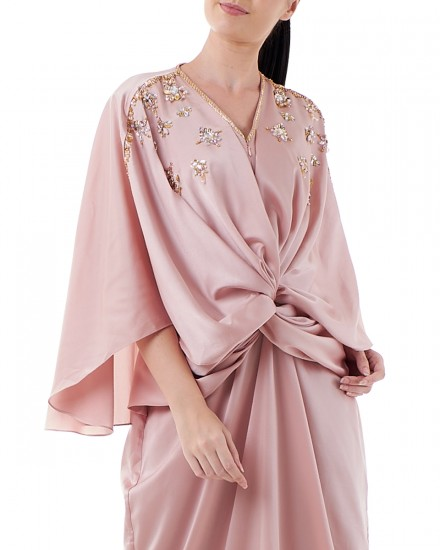 Havva Wrap Kaftan in Shimmer Light Pink