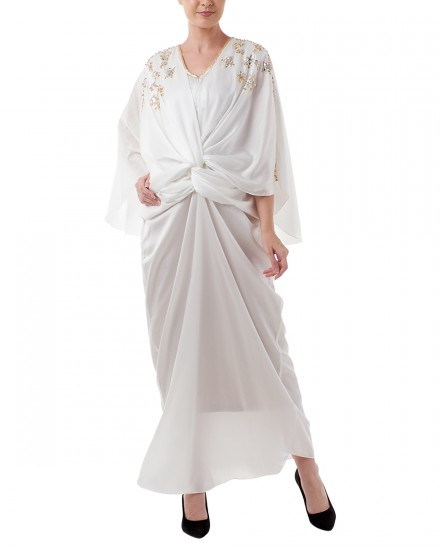 Havva Wrap Kaftan in Purity White