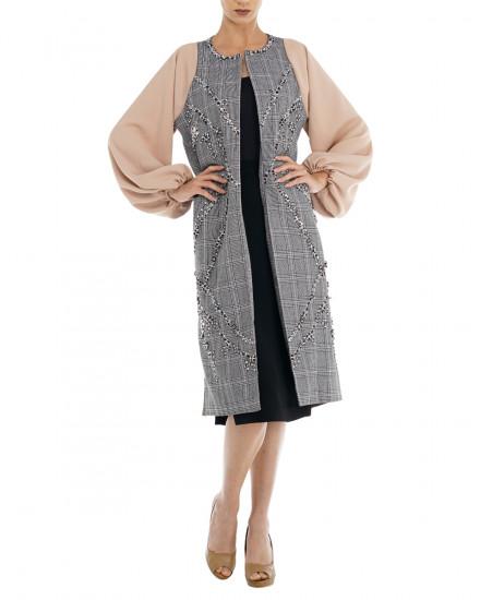 Cruz Embellished Coat in Plaids & Nude