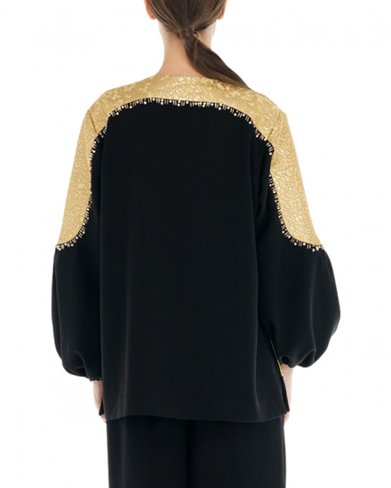Ivy Outerwear in Black & Gold Pattern
