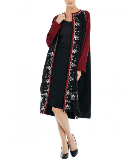 Sage Embellished Lace Coat in Maroon & Black Lace