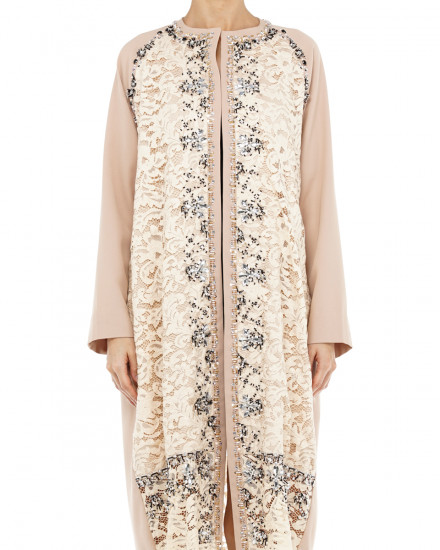 Sage Embellished Lace Coat in Nude