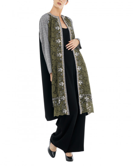 Sage Embellished Lace Coat in Plaids & Olive Lace