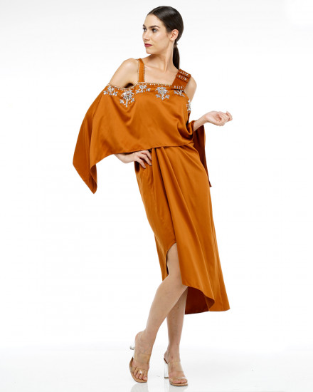 Affie Layered Bow Dress in Burnt Cayenne
