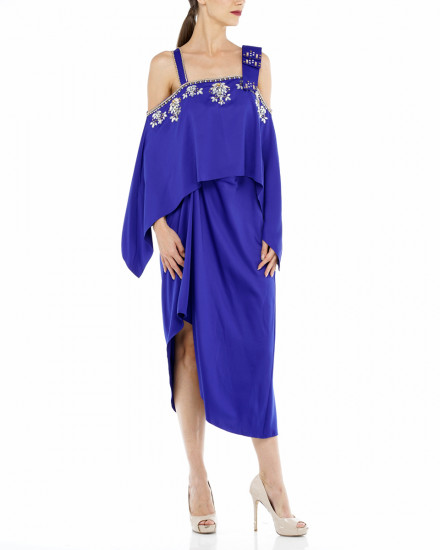 Affie Layered Bow Dress in Electric Blue