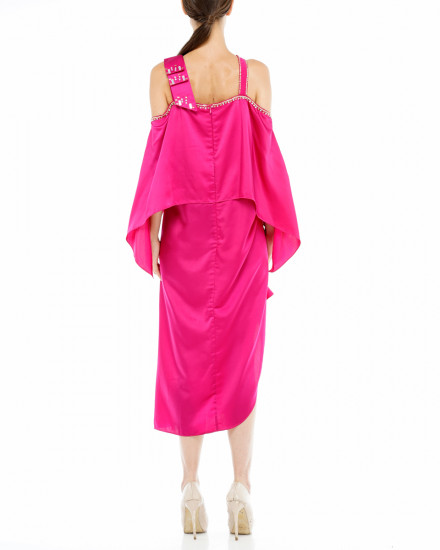 Affie Layered Bow Dress in Fuchsia