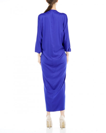 Cassia Embellished Signature Front Knot Kaftan in Electric Blue