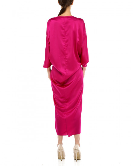 Cassia Embellished Signature Front Knot Kaftan in Fuchsia