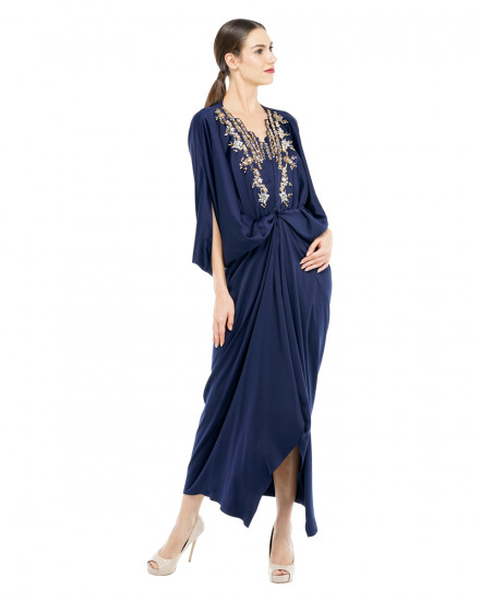 Cassia Embellished Signature Front Knot Kaftan in Midnight Blue