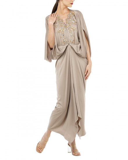 Cassia Embellished Signature Front Knot Kaftan in Warm Grey